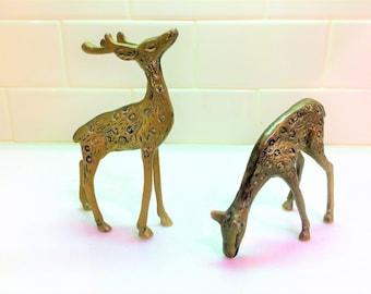 Vintage Solid Brass Deer Buck / Stag and Doe Figurines