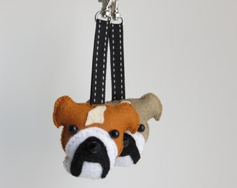 British English Bulldog hand sewn felt bag charm