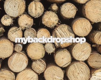 6ft x 6ft Light Log End Photo Prop - Wood Log Photography Backdrop - Rustic Log Wood Floor Drop - Photo Prop Backdrop - Item 3078