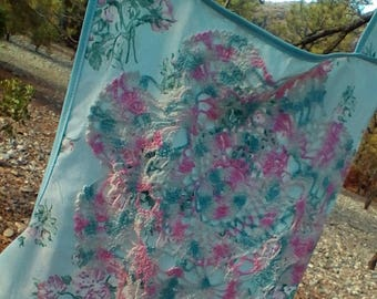 Pink and Blue Vintage Style Full Woman's Floral Apron