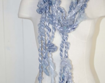 Art Yarn Scarf * Super Thick and Chunky *  Baby Blue  * Soft  to Skin Meriono Wool * Fairy Scarf *  OOAK