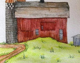 Watercolor Barn, Original