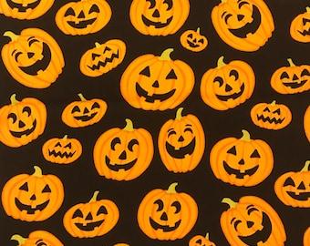Jack-o-lantern Halloween fabric/halloween pumpkins fabric/smiling pumpkins/halloween novelty/seasonal novelty cotton/