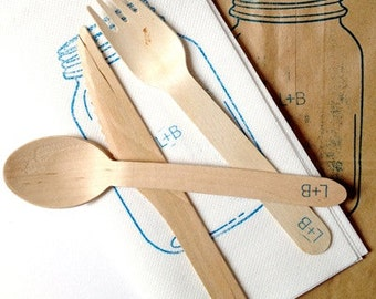 Custom Wedding Napkins and  Utensils. As Seen in Huffington Post. Eco-Friendly Wedding Table Decor or Bridal Shower Decoration.