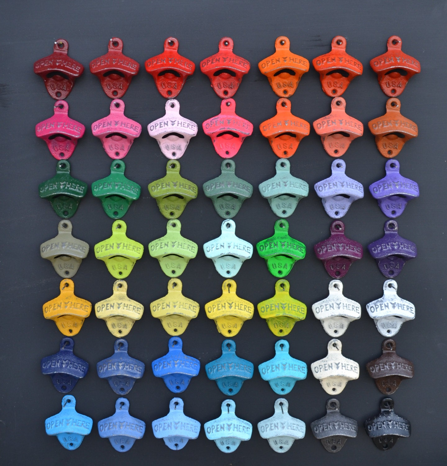 Wall Mounted Bottle Opener - Over 50 Colors - Cast Iron Opener Rustic Barware Beer Accessories Kitchen Decor Patio Decor Man Cave Decor