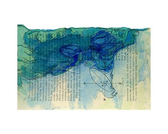 Watercolor art print, small abstract art, blue green nautical art on book page, Colonization: Terrestrial Navigation 2