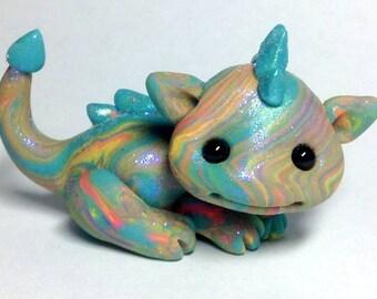 "OOAK Tropical Swirl Dragon Trollfling Troll mini ""Corina"" by Amber Matthies"