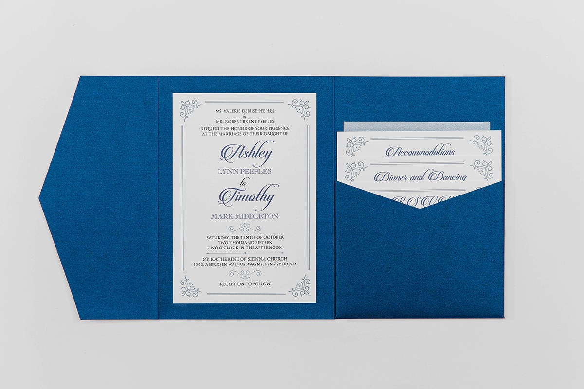 5x7 navy and silver formal classic pocket wedding invitation with 5x7 navy and silver formal classic pocket wedding invitation with details rsvp inserts and return address printing on envelopes stopboris Gallery