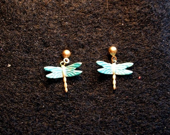 Dragonfly Earrings Small. Turquoise.