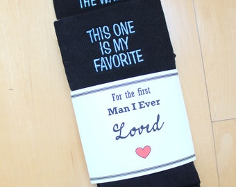 Father of the Bride socks, black socks, out of all the walks this one is my favorite, custom date Wedding Socks, FOB Gift, SKS012LB7