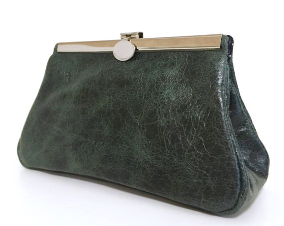 green leather pouch, her leather bag green