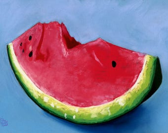 Watermelon still life pastel painting