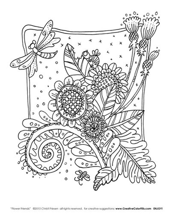 Colorfill - Coloring Page - by International artist Christi Friesen flower friends