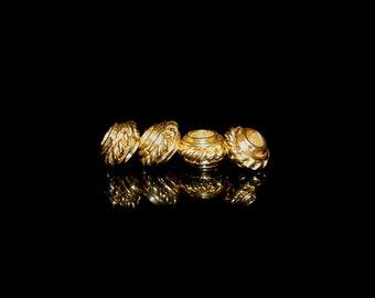 4 x 8mm 22 Karat Gold Vermeil Large Hole Discus Beads, Vermeil Bali Beads, Gold Vermeil Spacers, 8mm Vermeil Bali Spacers, Bali Beads