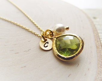Personalized Birthstone Necklace with Initial Charm, Gold Birthstone Jewelry, Birthday Gift for Her, Personalized Jewelry for Women, Disc