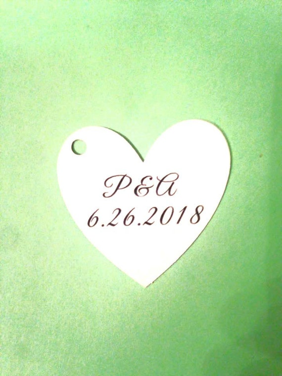 """Wedding Heart Tag with initials and date of event,Thank You Tags - 1.5"""" Heart - Personalized Tag - Kraft Tags - Custom Wedding Tags"""