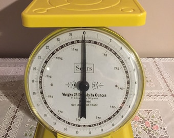 Rare Vintage yellow sears kitchen scale model 1906 25lb capacity