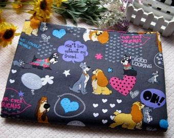 Cotton Fabric - 2 Meters Animal Cartoon Fabric - Animals - Love - Dogs Fabric - Cute Kids Fabric - Gray (W:140cm )