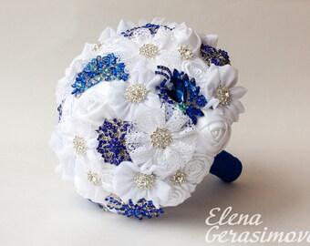 Brooch Bouquet. white blue Fabric Bouquet, Unique Wedding Bridal Bouquet