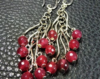 Long Strawberry Pink Agate Plated Silver Earrings