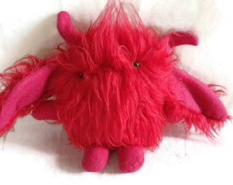 Cute red hairy monster