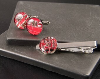 Circuit Board Cufflinks and Tie Bar Set Red, Wearable Technology, Electrical Engineer Gift, Formal Accessories, Geek Chic, Geekery