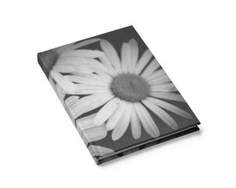 Journal, blank/lined, book for writing/sketching, notebook, black and white, floral, original