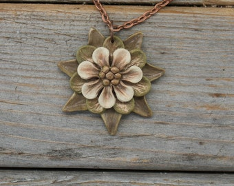 Whimsical Flower Pendant Necklace - Copper Green and White Layered Petals