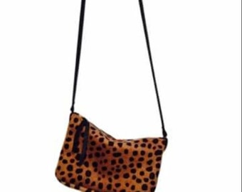 Leopard print cross body bag. Hair-on-hide bag. Leopard handbag.