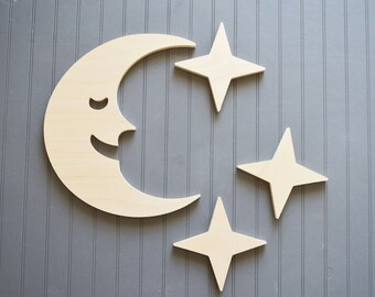 Moon and Stars, Wooden Moon and Stars, Nursery Wall Art, Wall Hanging, Wood Cut Outs, Baby Room Decor