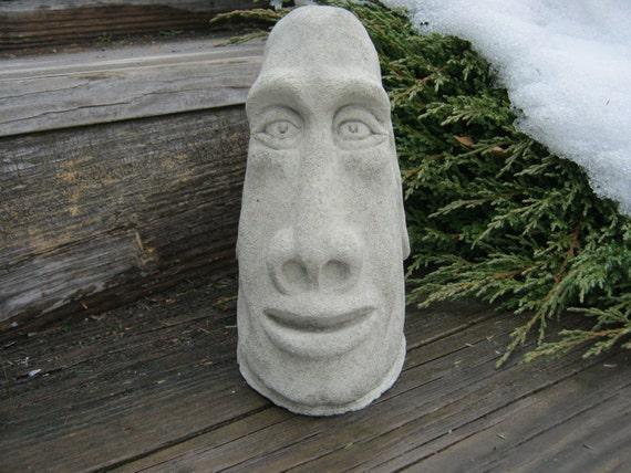 moai head statue concrete easter island tiki head garden. Black Bedroom Furniture Sets. Home Design Ideas