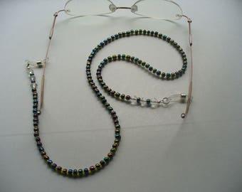 Beaded Eyeglass Holder, Black AB Beads Gold Glass Beads, Sunglass Eyeglass Holder, Eyeglass Chain, Reading Glasses Chain, Eyeglass Leash