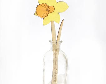 Personalised Wooden Flower, Daffodil, Mother's Day Flowers, Wooden Anniversary Gift for Her Wife, Wooden Flower