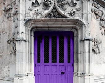 Purple Door Print, Paris Door, Gray, Travel Gift, Purple, Rustic, Neutral, Paris Photography, Large Wall Art