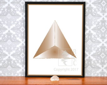 Sacred Geometry Tetrahedron, Copper Printable/downloadable Art, 8.5 by 11,  Yoga Art For Well-being, Geometric Art, Platonic Solids