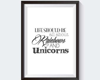 Unicorn 'Rainbows' Quote - INSTANT DOWNLOAD