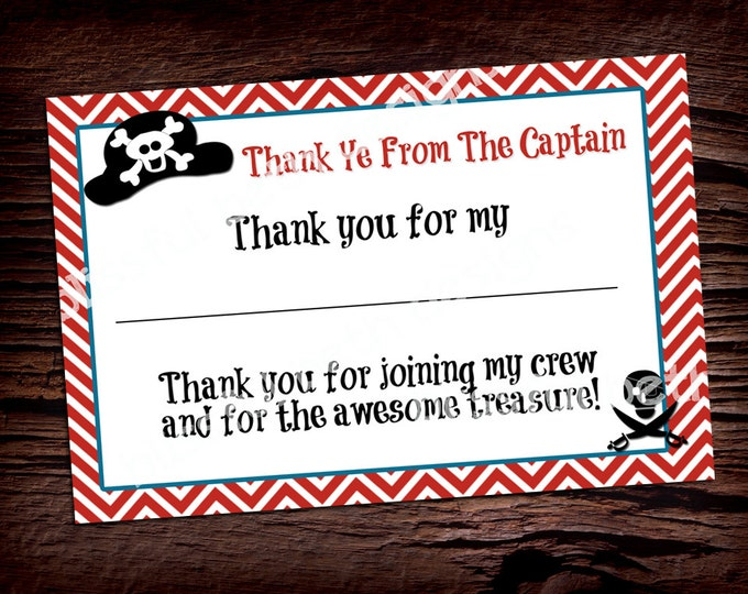PIRATE THANK YOU Pirate Printable Thank You Notes, Instant Download, Instant Pirate Thank You Note, Thank You Note, Pirate Thank You