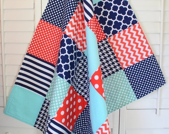 Blanket, Nursery Decor, Patchwork Quilt, Baby Quilt, Minky Baby Blanket, Baby Bedding, Baby Gift, Navy Blue, Navy, Mint, Coral, White
