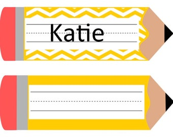 Pencil Name tags, Elementary Name tags for desks, School, Teacher, PNG, PDF