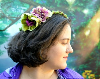 Purple Flower Circlet, Fairy Headpiece, Bridal Crown, Fairy Circlet, Renaissance Crown, Floral Circlet, Flower Crown, Floral Crown