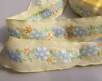 Vintage Cotton Embroidered Floral ribbon, Yellow, with Yellow, Green, White and Blue Florals, 1 1/4 inches wide, white embroidery on edge