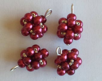 4 4mm red glass pearl beads pendants