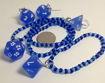 Frosted Blue Dice Jewelry Set