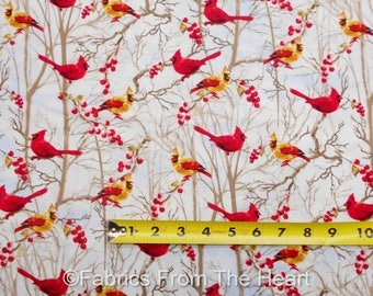 Cardinals Birds Tree Branchs Berries on Snow BY YARDS Timeless Treasure Fabric
