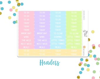 Pastel Headers- Planner Stickers; To Do, Today, Little Things, Etc.; Purple, Blue, Pink, Green, Orange