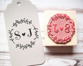 Wedding Stamp, Initials in Wreath Monogram, Custom, Save the Date