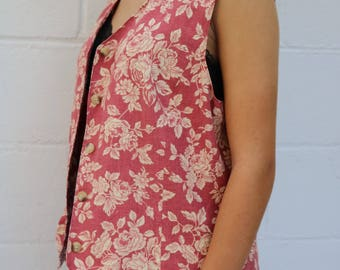 Vtg Pink Floral Vest