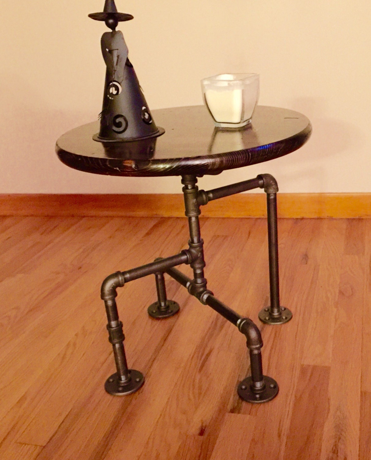 Industrial Black Pipe Table End Man Cave Bar