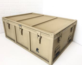 Metal Military Trunk, Repurposed Shipping Container, Vintage Industrial Coffee  Table, Blanket Chest Storage
