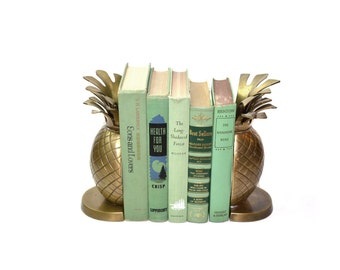 Vintage Pineapple Bookends Brass Pineapple Bookends Gold Pineapple Book Ends Tropical Palm Beach Decor Ananas Bookends